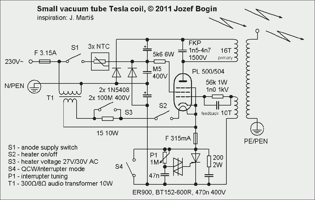 Small vacuum tube tesla coil, Schematic