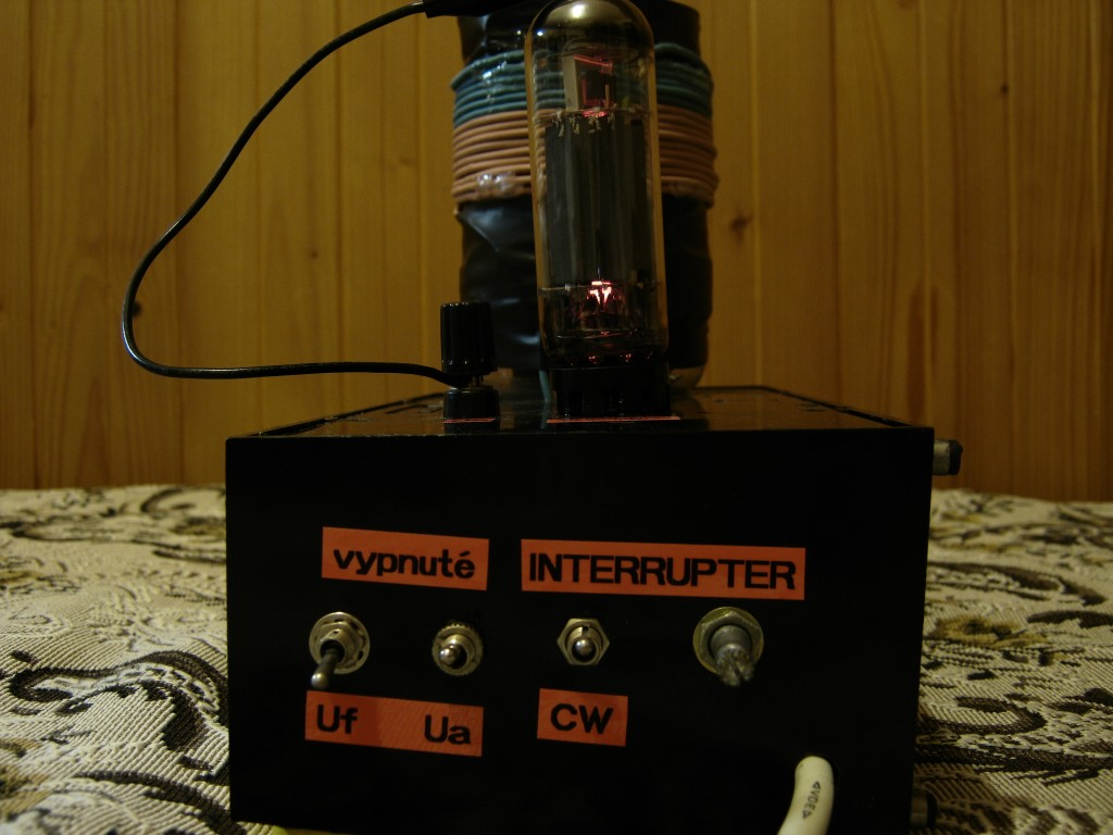 Small vacuum tube tesla coil, Front panel