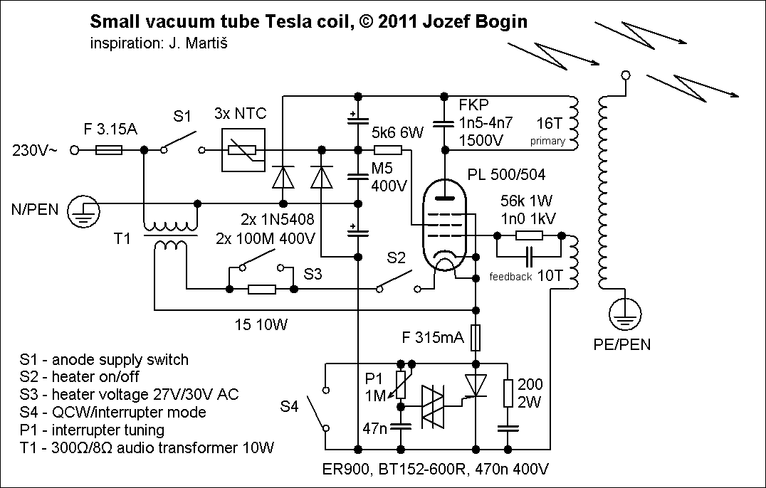 Small Vacuum Tube Tesla Coil Vttc Bogin Jr. Small Vacuum Tube Tesla Coil Schematic. Tesla. Fly Back Tesla Coil Circuit Diagram At Scoala.co